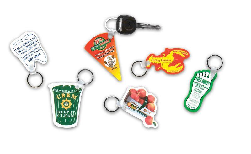 custom shaped plastic key tags with key rings