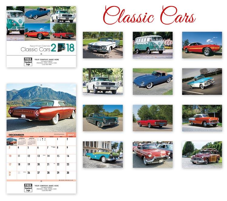 classic cars calendar design
