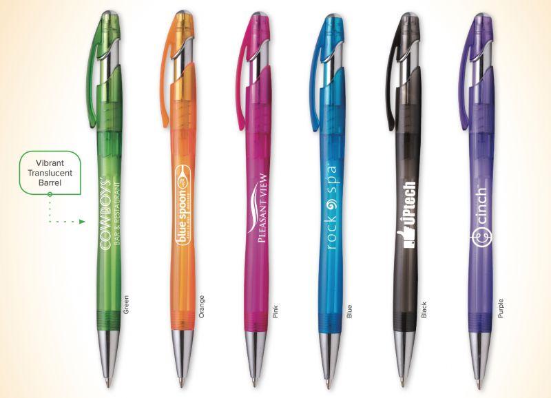 translucent plastic pens