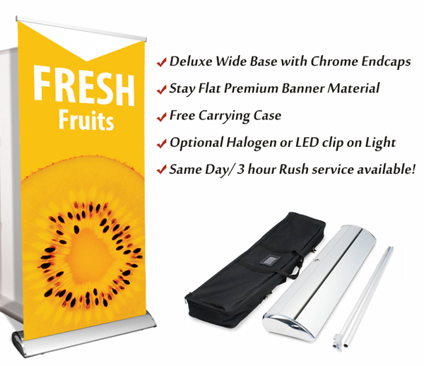 premium retractable banner stand same day printing
